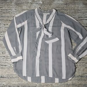 LOFT Chiffon Striped Blouse